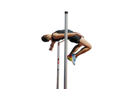 high jump male athlete in white background Zdjęcie Seryjne