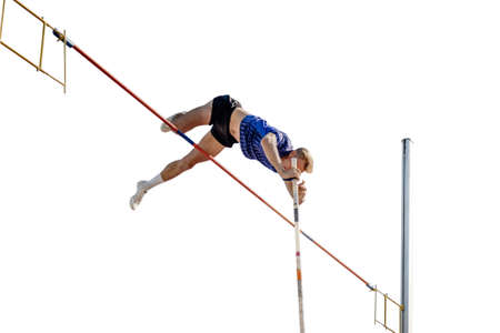 male athlete pole vault on white background Zdjęcie Seryjne