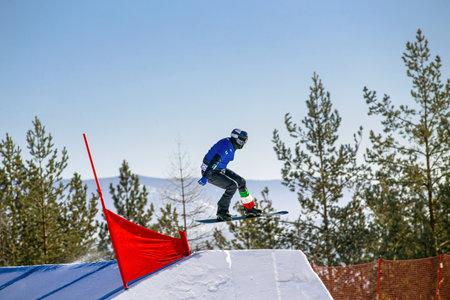 snowboarder Italian ski jump. snowboarding competition Standard-Bild