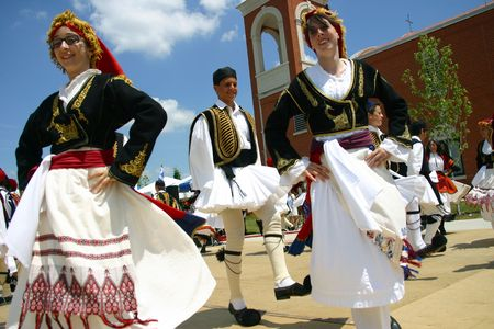 traditional culture: London, Ontario, Canada, June 25, 2006: Young dancers wearing traditional Greek costume dance during an annual celebration of Greek culture.
