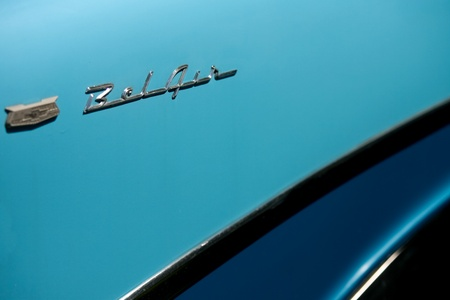 chevrolet: The rear side panel of a vintage Chevrolet Bel Air.  Editorial