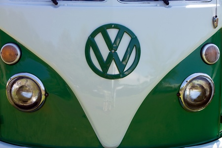 The front end of classic Volkswagon van.