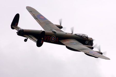 St. Thomas, Canada - June 25, 2011: A World War II British Avro Lancaster bomber flies past at the Great Lakes International Air Show.