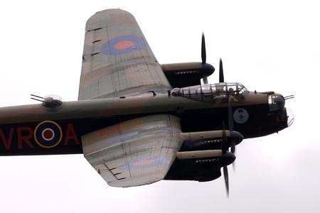 St. Thomas, Canada - June 25, 2011: A World War II British Avro Lancaster flies past at the Great Lakes International Air Show.