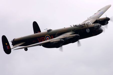 St. Thomas, Canada - June 25, 2011: A World War II British Avro Lancaster flies past at the Great Lakes International Air Show.