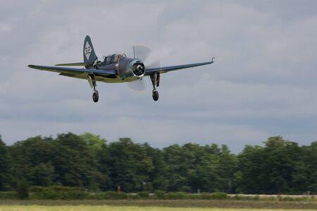 St. Thomas, Canada - June 25, 2011: A Curtis SB2C Helldiver, World War II dive bomber lands at the Great Lakes International Air Show.