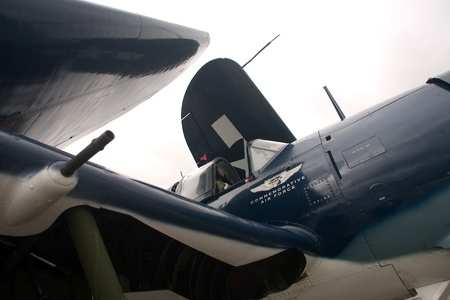 curtis: St. Thomas, Canada - June 24, 2011: A Curtis SB2C Helldiver, World War II dive bomber on the tarmac at the Great Lakes International Air Show. Editorial