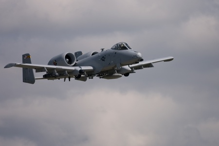 June 26, 2011. St. Thomas Ontario Canada. A United States A-10C Thunderbolt II in flight at the Great Lakes International Air Show.