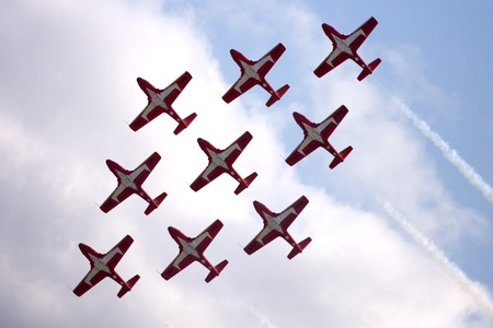 St. Thomas, Canada - June 26, 2011: The Canadian Forces Air Demonstration team Snowbirds perform at the Great Lakes International Air Show.