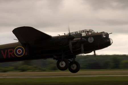 St. Thomas, Canada. June 26, 2011. A World War II Avro Lancaster lands at the Great Lakes International Air Show.