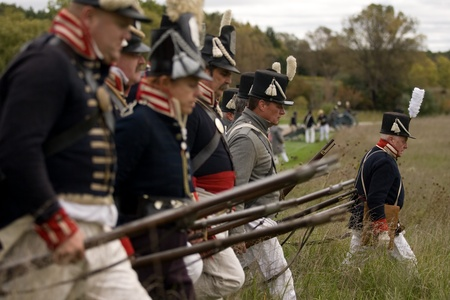 London, Ontario - October 1, 2011: The war of 1812 is re-enacted on the grounds of Fanshaw Conservation Area in London. Over the course of the weekend, five individual battles are carried out throughout the park. Stock Photo - 10781479