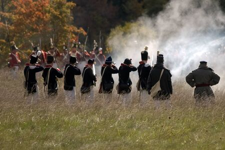 London, Ontario - October 1, 2011: The war of 1812 is re-enacted on the grounds of Fanshaw Conservation Area in London. Over the course of the weekend, five individual battles are carried out throughout the park.