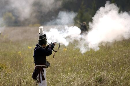 London, Ontario - October 1, 2011: The war of 1812 is re-enacted on the grounds of Fanshaw Conservation Area in London. Over the course of the weekend, five individual battles are carried out throughout the park. Stock Photo - 10781470