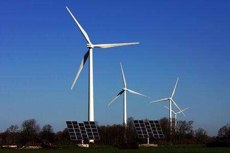 shores: Port Burwell, Canada - May 5, 2011. Images of the Erie Shores Wind Farm located in Southwestern Ontario Canada.