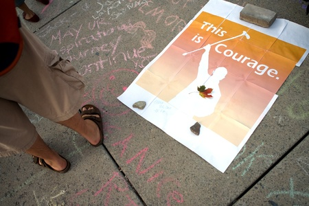 Toronto, Ontario, Canada. August 26, 2011. Following his death on August 22, 2011, Canadians across the country spoke out expressing their feelings for the NDP leader who had taken his party to the largest electoral win earlier in the year. In Toronto, th