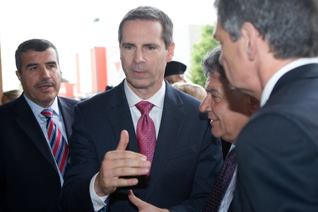 honouring: London, Canada - September 11, 2011: On the 10th anniversary of the attacks on the United States, the London Ontario Fire Department unveiled a monument honouring the 21 London Firefighters who lost their lives while on the job. Dalton McGuinty, meets wit