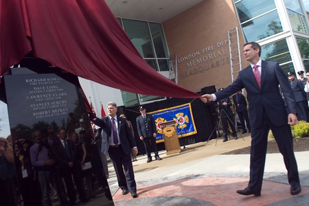 honouring: London, Canada - September 11, 2011: On the 10th anniversary of the attacks on the United States, the London Ontario Fire Department unveiled a monument honouring the 21 London Firefighters who lost their lives while on the job. Dalton McGuinty, Premier o