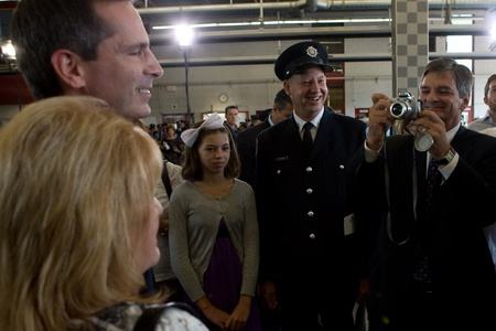 honouring: London, Canada - September 11, 2011: On the 10th anniversary of the attacks on the United States, the London Ontario Fire Department unveiled a monument honouring the 21 London Firefighters who lost their lives while on the job. Chris Bentley, Attorny Gen