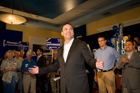 London, Canada - September 12, 2011: Tim Hudak, leader for the Progressive Conservative Party of Ontario speaks to party faithful at a rally in London Ontario. Hudak stressed the need for change after eight years of Liberal rule under Dalton McGuinty.