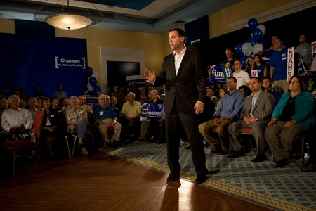 liberal: London, Canada - September 12, 2011: Tim Hudak, leader for the Progressive Conservative Party of Ontario speaks to party faithful at a rally in London Ontario. Hudak stressed the need for change after eight years of Liberal rule under Dalton McGuinty.