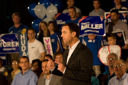 conservatives: London, Canada - September 12, 2011: Tim Hudak, leader for the Progressive Conservative Party of Ontario speaks to party faithful at a rally in London Ontario. Hudak stressed the need for change after eight years of Liberal rule under Dalton McGuinty.