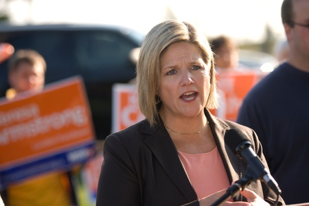 London, Canada - September 14, 2011: Andrea Horwath, leader of the Ontario New Democratic Party, brought her parties platform to the London area at a stop in front of the soon to be close Ford Talbotville plant.