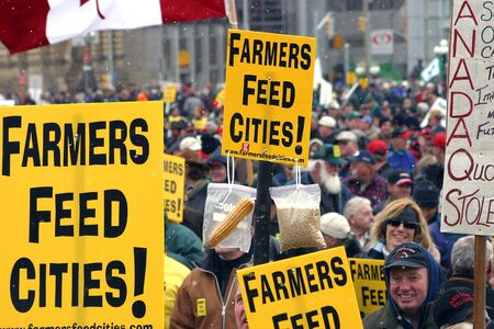 Ottawa, Ontario, Canada. April 5, 2006.  A sea of signs, flags and faces of thousands of farmers who had travelled from three seperate provinces to Parliment Hill.  The peacefull demonstration was held to raise awareness of the income crisis that has exis