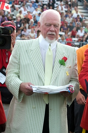 London Ontario, Canada - July 2010. Don Cherry, co-host of Coaches Corner on CBCs Hockey Night In Canada arrives at the opening ceremonies of the 2010 Special Olympics Canada Summer Games.
