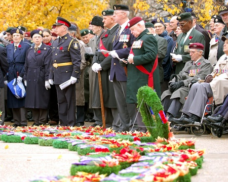 London, Ontario, Canada. November 11, 2008. Veterans and other members of the public gather during annual Remembrance Day ceremonies.  Editorial