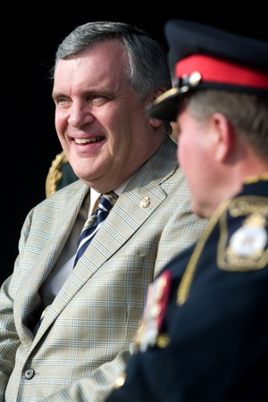 governor: London Ontario, Canada - July 13, 2010: Ontario Lieutenant Governor David Onley is the guest of honour at the opening ceremonies of the 2010 Special Olympics, Canada Summer Games.  Editorial