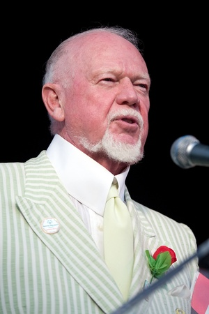 summer olympics: London Ontario, Canada - July 13, 2010: TV personality Don Cherry speaks at the opening ceremonies of the 2010 Special Olympics, Canada Summer Games.