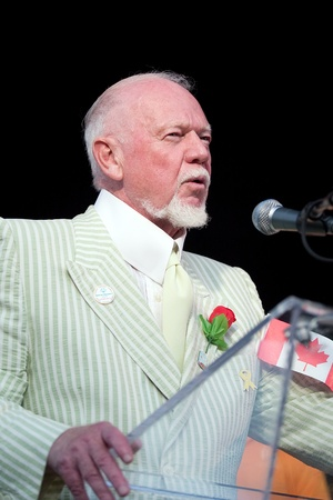 London Ontario, Canada - July 13, 2010: TV personality Don Cherry speaks at the opening ceremonies of the 2010 Special Olympics, Canada Summer Games.