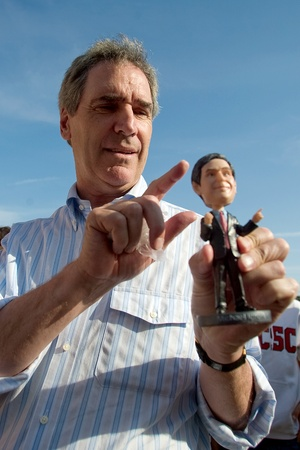 liberal: Michael Ignatieff, leader of the Federal Liberal Party views a Michael Ignatieff bobblehead while on his Liberal Express cross Canada stop in London, Ontario.  The bobblehead doll was manufactured a St.Thomas company aptly named Bobblecorp.  Mr. Ignat