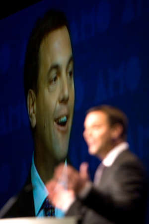 London, Ontario. August 23, 2011. Tim Hudak, leader of the Ontario Progressive Conservative party, addressed delegates at the 2011 Association of Municipalities of Ontario and used the opporutnity to do some campaigning. In his address Hudak rolled out so
