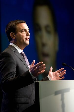 municipalities: London, Ontario. August 23, 2011. Tim Hudak, leader of the Ontario Progressive Conservative party, addressed delegates at the 2011 Association of Municipalities of Ontario and used the opporutnity to do some campaigning. In his address Hudak rolled out so