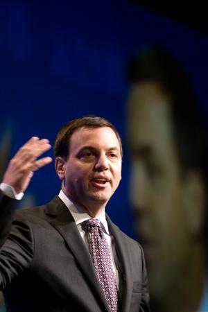 addressed: London, Ontario. 23 agosto 2011. Tim Hudak, leader del Partito Progressista Conservatore Ontario, indirizzata delegati presso l'Associazione 2011 di Comuni di Ontario e usato il opporutnity fare qualche campagna. Nel suo discorso Hudak implementato in modo Editoriali