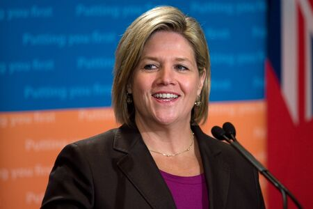 London, Ontario. August 23, 2011. Andrea Horwath, Leader of the Ontario New Democratic Party, fields questions at the 2011 Association of Municipalities of Ontario conference in London Ontario.