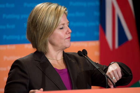 municipalities: London, Ontario. August 23, 2011. Andrea Horwath, Leader of the Ontario New Democratic Party, fields questions at the 2011 Association of Municipalities of Ontario conference in London Ontario.  Editorial