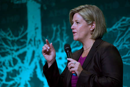 municipalities: London, Ontario. August 23, 2011. Andrea Horwath, Leader of the Ontario New Democratic Party, addresses delegates at the annual Association of Municipalities of Ontario conference in London, Ontario. During her presentation, Horwath vowed to look for ways Editorial