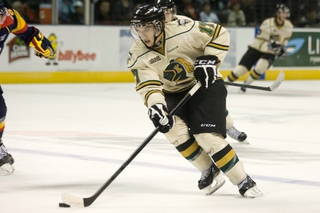 john labatt centre: London Ontario, Canada - October 14, 2011. Seth Griffin of the London Knights crosses the blueline in their game against the Erie Otters. London won the game 6-4.  Editorial