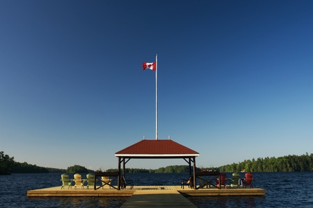 Port Severn Ontario, Canada - June 1, 2011. The T dock at Severn Lodge in the Muskoka - Georgian Bay region of Ontario Canada.