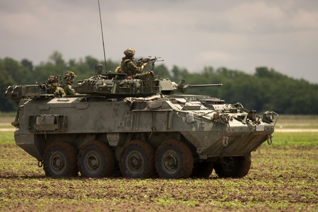 St. Thomas, Canada. May 25, 2006. A Canadian Forces LAV (Light Armoured Vehicle) takes part in a demonstration exercise at the Great Lakes International Air Show.