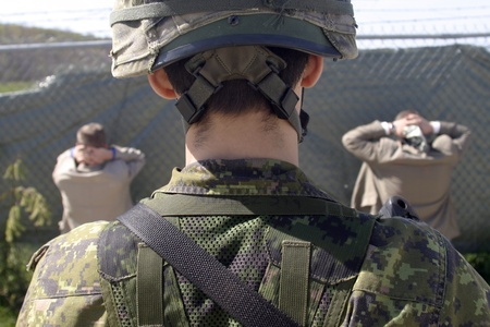 Meaford Ontario Canada. May 11, 2008. Canadian solidiers participate in the Canadian Forces predeployment exercise Maple Storm Two. During the multi-day training exercise Canadian soldiers who are not scheduled to be deployed play the role as potential en