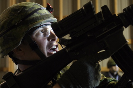 deployed: Meaford Ontario Canada. May 11, 2008. Canadian solidiers participate in the Canadian Forces predeployment exercise Maple Storm Two. During the multi-day training exercise Canadian soldiers who are not scheduled to be deployed play the role of potential en