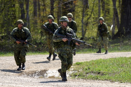 scheduled: Meaford Ontario Canada. May 11, 2008. Canadian solidiers participate in the Canadian Forces predeployment exercise Maple Storm Two. During the multi-day training exercise Canadian soldiers who are not scheduled to be deployed play the role of potential en