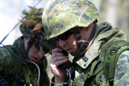 Meaford Ontario Canada. May 11, 2008. Canadian solidiers participate in the Canadian Forces predeployment exercise Maple Storm Two. During the multi-day training exercise Canadian soldiers who are not scheduled to be deployed play the role of potential en Stock Photo - 10911735