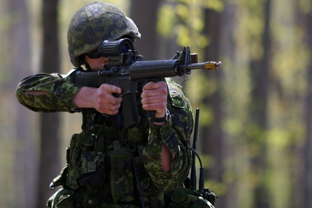 Meaford Ontario Canada. May 11, 2008. Canadian solidiers participate in the Canadian Forces predeployment exercise Maple Storm Two. During the multi-day training exercise Canadian soldiers who are not scheduled to be deployed play the role of potential en