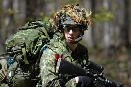 be or not to be: Meaford Ontario Canada. May 11, 2008. Canadian solidiers participate in the Canadian Forces predeployment exercise Maple Storm Two. During the multi-day training exercise Canadian soldiers who are not scheduled to be deployed play the role of potential en