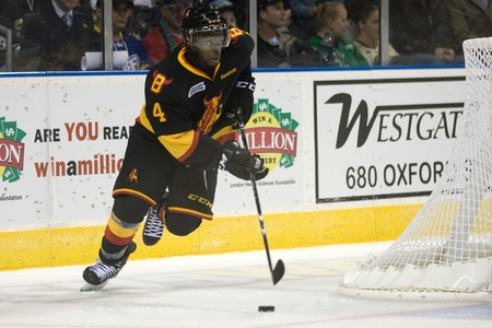 London Ontario, Canada - October 21, 2011. Jordan Subban of the Belleville Bulls carries the puck in a game against the London Knights. London won the game 4-0.