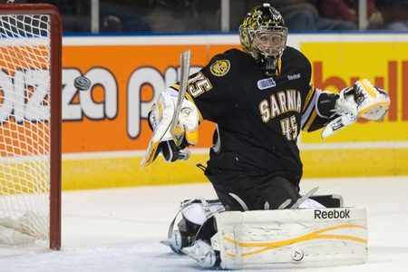 john labatt centre: London Ontario, Canada - October 30, 2011. Sarnia goalie Brandon Maxwell (45) watches the puck after redirecting it during a game against the London Knights. London won the game 3-2 in a shootout.  Editorial